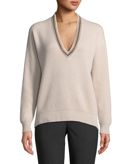 Brunello Cucinelli Monili Deep V-Neck Ribbed Cashmere Sweater