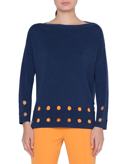 Image 1 of 1: Perforated Knit Pullover Sweater