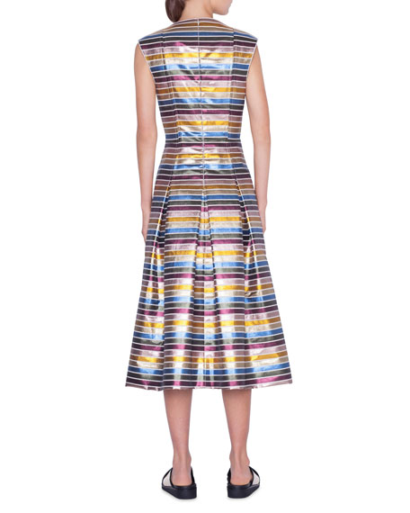 Striped Metallic Cotton Zip-Front Dress