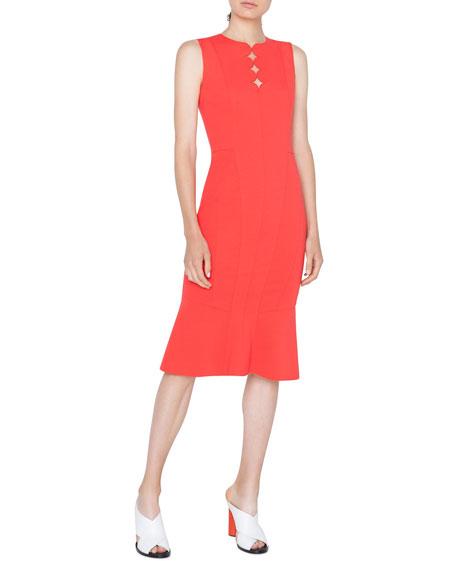 Sleeveless Jersey Dress with Memphis Scallop Detail