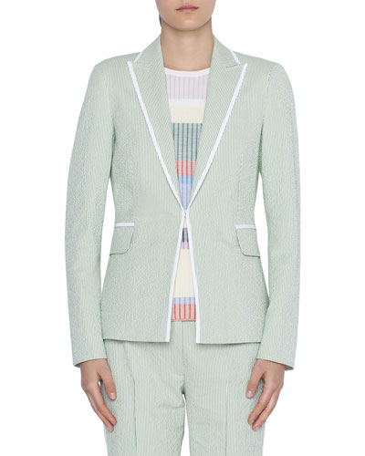 Seersucker Blazer w/ Contrast Piping