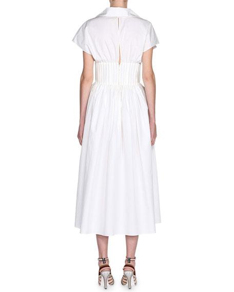 Short-Sleeve Cotton Poplin Dress w/ Bustier