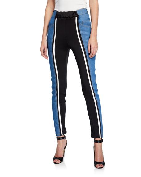 Jersey Panel Skinny-Leg Jeans