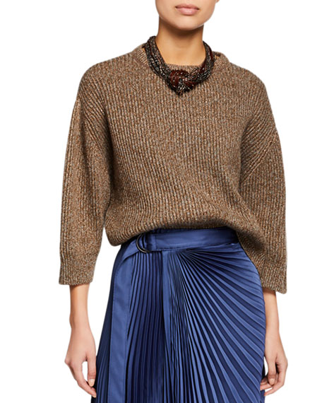 Shimmer Ribbed Wool-Cashmere Sweater