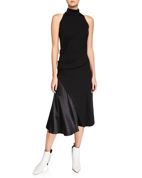 Mock-Neck Stretch Jersey Dress