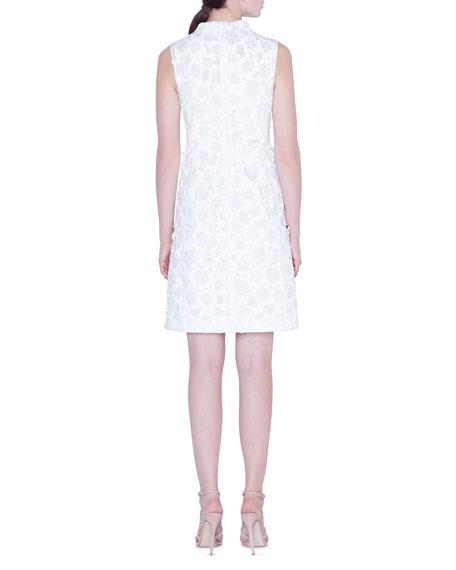 Mock-Neck Flower-Jacquard Dress