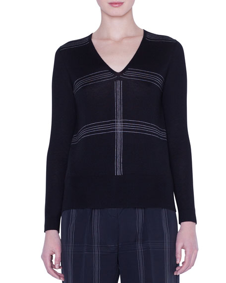 V-Neck Cashmere-Silk Check-Intarsia Sweater
