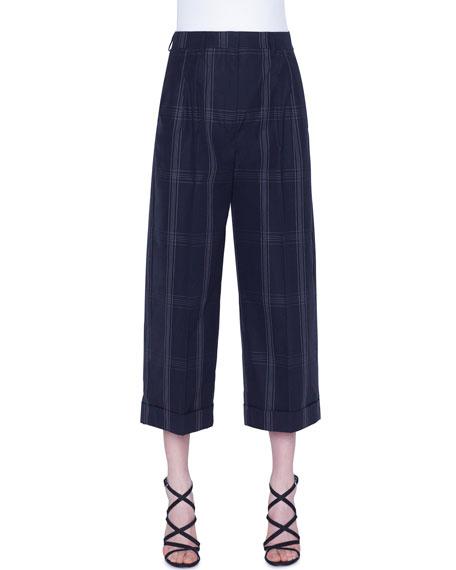 Plaid Cropped Cotton Pants