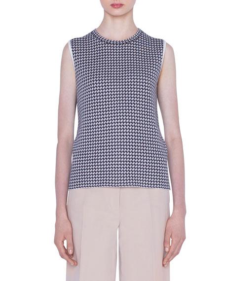 Cashmere-Silk Houndstooth Jacquard Sweater