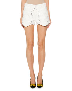 Off-White Lace-Embroidered Mini Shorts