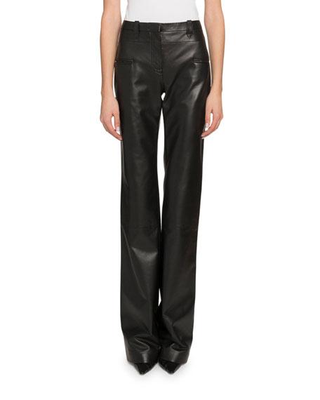 High-Waist Flare-Leg Leather Pants