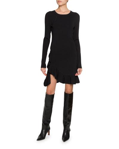 Long-Sleeve Ruffled Dress