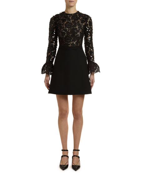 Flare-Sleeve Heavy Lace Sequined Dress