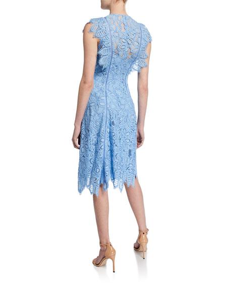 Flutter-Sleeve Guipure Lace Dress