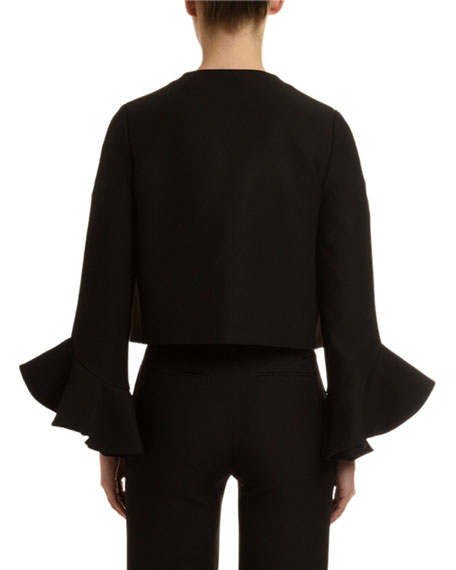 Long-Sleeve Bell-Cuff Crepe Couture Jacket