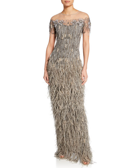 Pamella Roland Feather-Skirt Sequined Illusion Gown