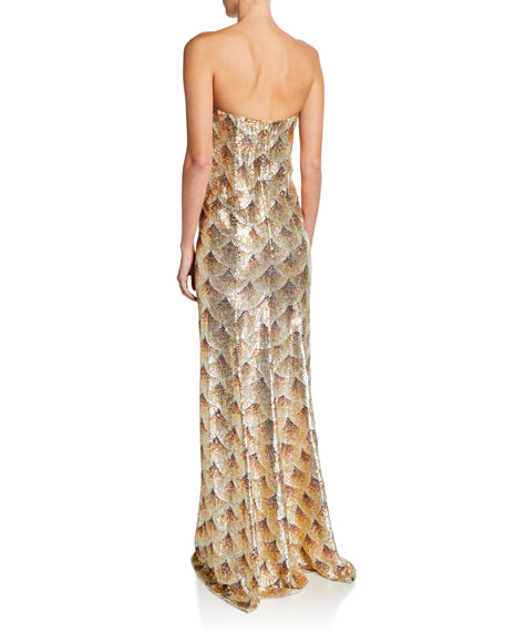 Golden Fan-Embellished Strapless Gown
