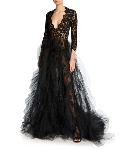 Lace-Bodice Plunging V-Neck Tulle-Skirt Gown