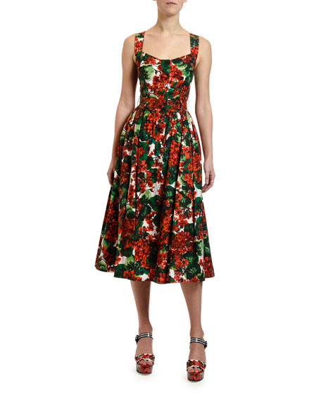 Geranium Print Cotton Midi Dress
