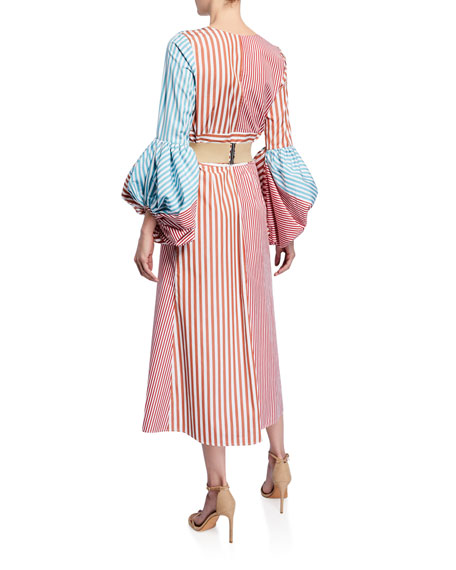 Balloon-Sleeve Striped V-Neck Shirtdress