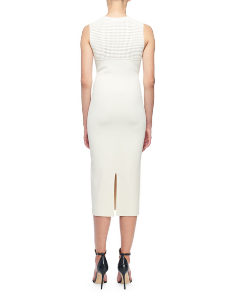 Sleeveless Open-Knit Midi Dress
