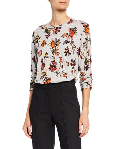 Derek Lam Long-Sleeve Indian Floral Print T-Shirt