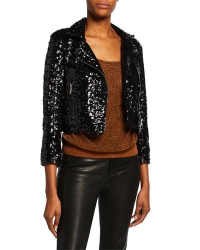Sparkled Leather Crop Biker Jacket