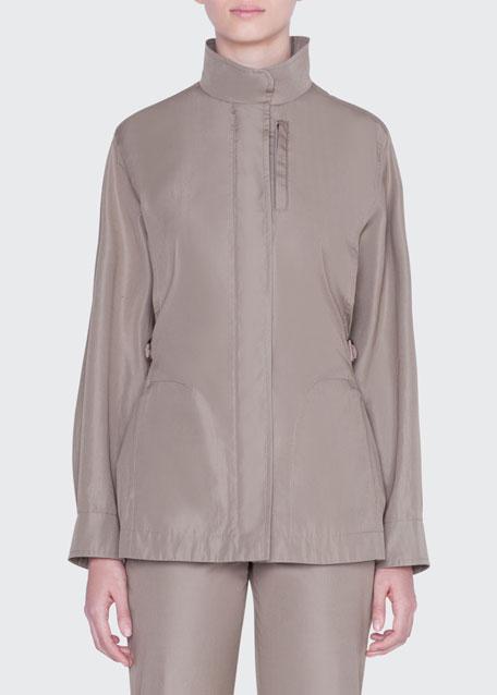 Zip-Front Coated Cotton Parka Jacket