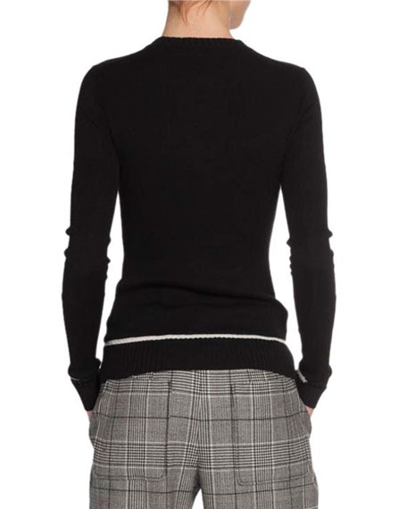 Ribbed Silk-Cashmere Henley Sweater