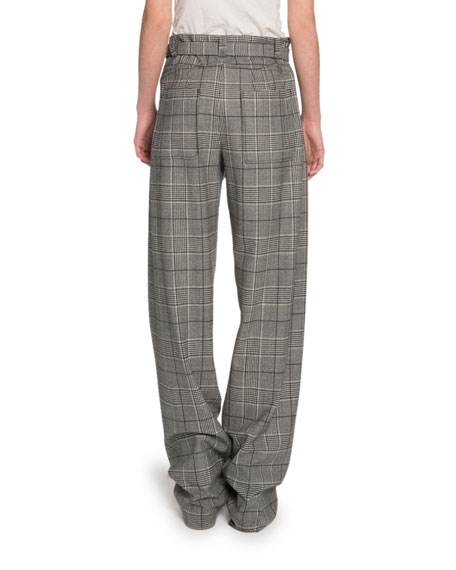 Glen-Plaid Exaggerated-Leg Pants