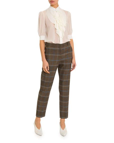Ruffled-Front Silk Button-Front Shirt