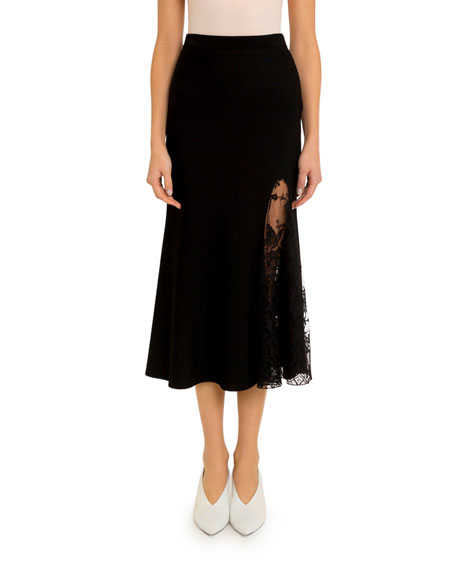 Lace-Inset Midi Skirt