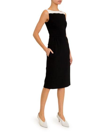 Boat-Neck Midi Dress