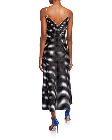 Aquazzura x Racil Sleeveless Polka-Dot Satin Midi Slip Dress