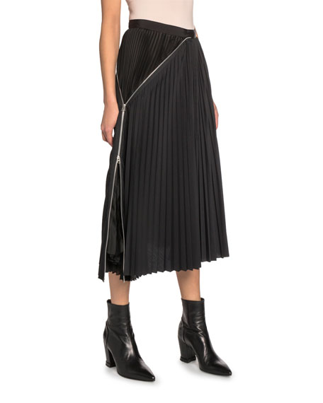 Zip-Trim Pleated Midi Skirt