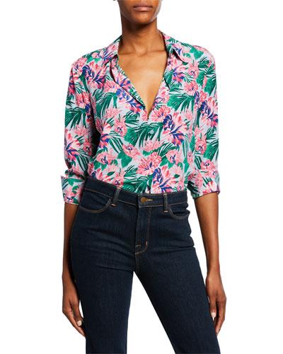 Floral Crepe de Chine Button-Down Shirt
