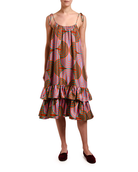 Tie-Shoulder Slinky-Print Bouncy Dress