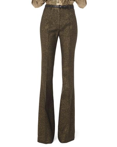 Metallic Wool Flare Leg Pant