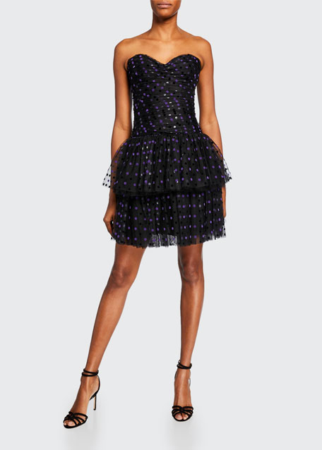 Strapless Dotted Tulle-Tiered Cocktail Dress