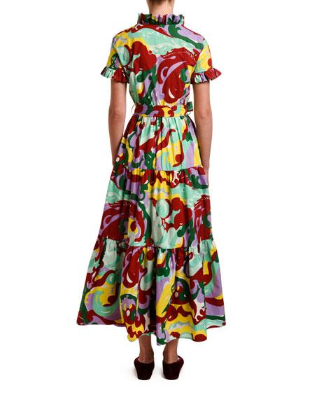 Abstract Floral Short-Sleeve Shirtdress