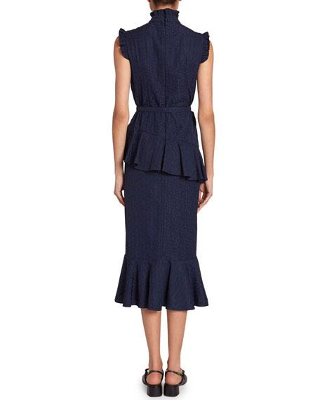 Irina Floral Jacquard Belted Ruffle Dress