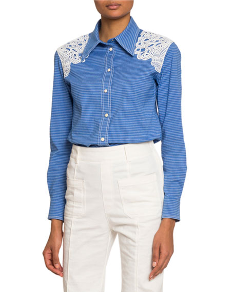 Lace-Shoulder Checked Button-Front Shirt