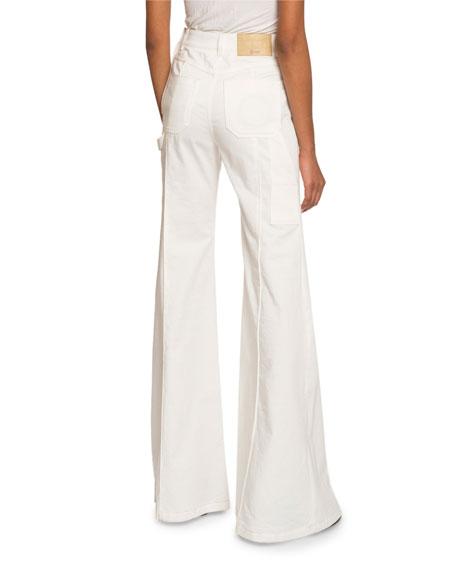 High-Waist Patch-Pocket Flare Jeans
