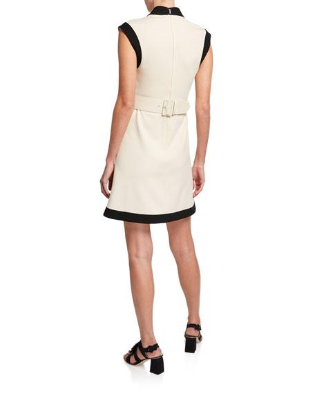 Belted Sleeveless Shift Dress