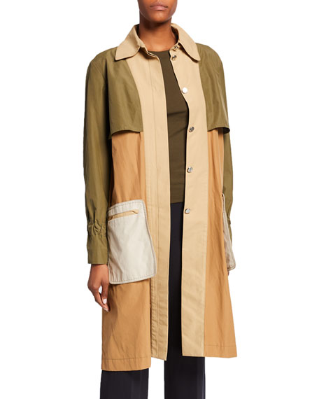 Colorblocked Twill Trench Coat