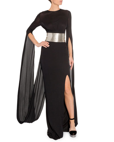 Silver-Belted Drape-Back Gown
