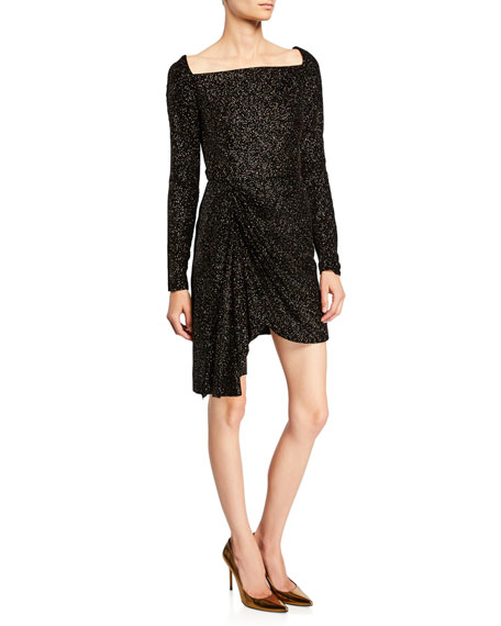 Shimmer Knit Square-Neck Mini Dress