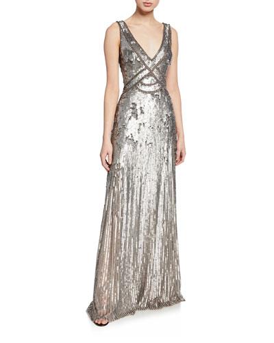Sleeveless Sequined V-Neck Gown