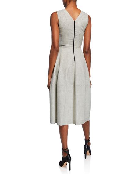 Grid Print Wool Twill Dress