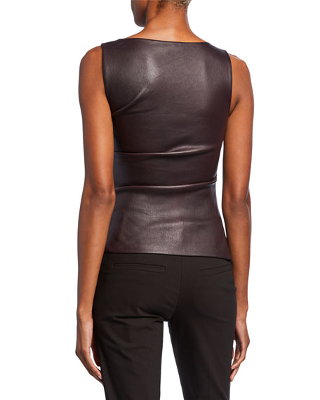 Leather Ruched Boat-Neck Top
